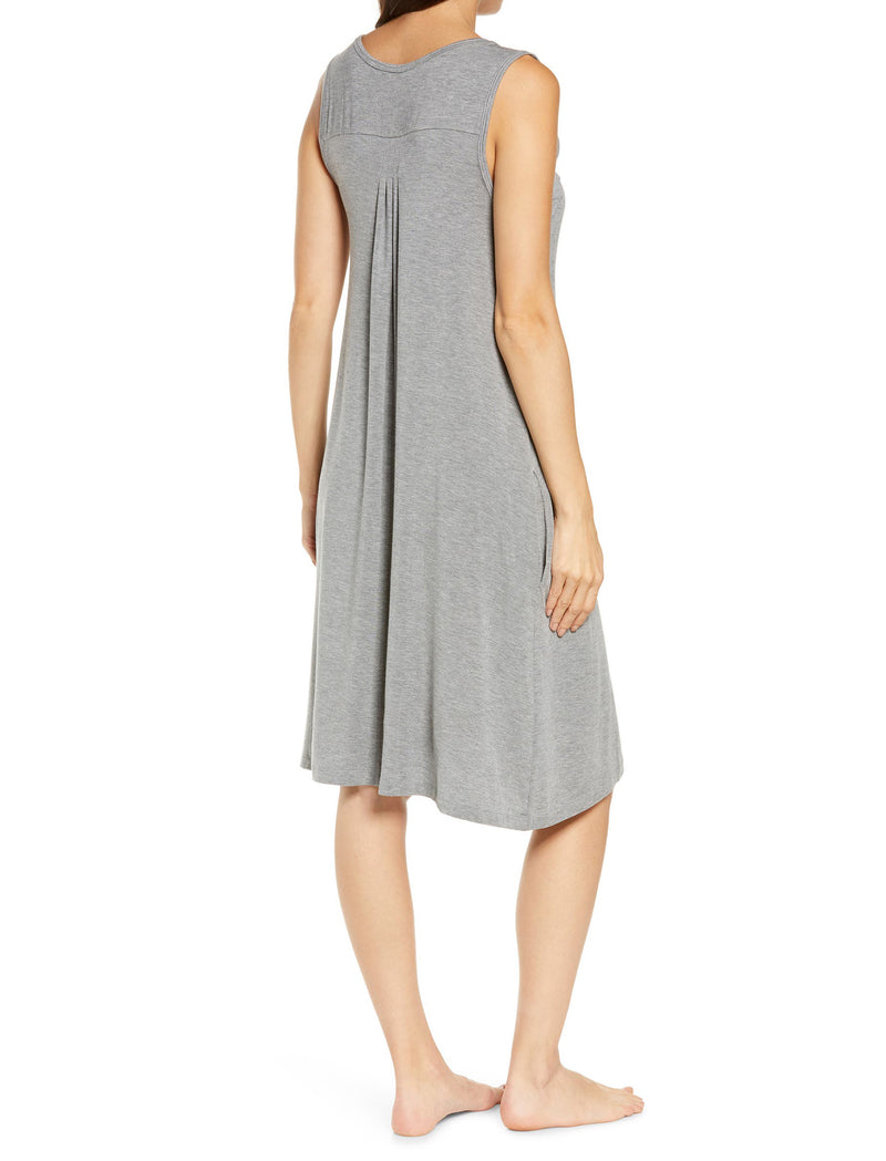 Modal Pleat Front Nightgown in Dark Grey