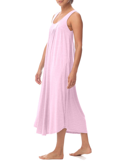 Modal Soft Pleat Front Maxi Nightgown in Ruby Pink