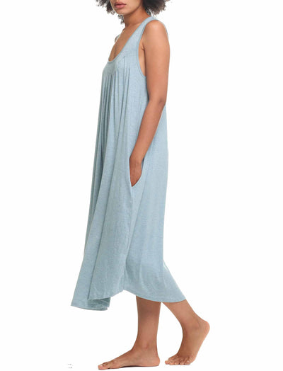 Modal Soft Pleat Front Maxi Nightgown, Sage
