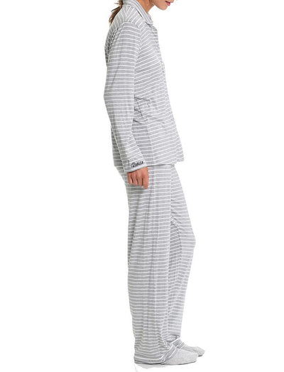 Modal Jersey Stripe Pajamas Grey Side