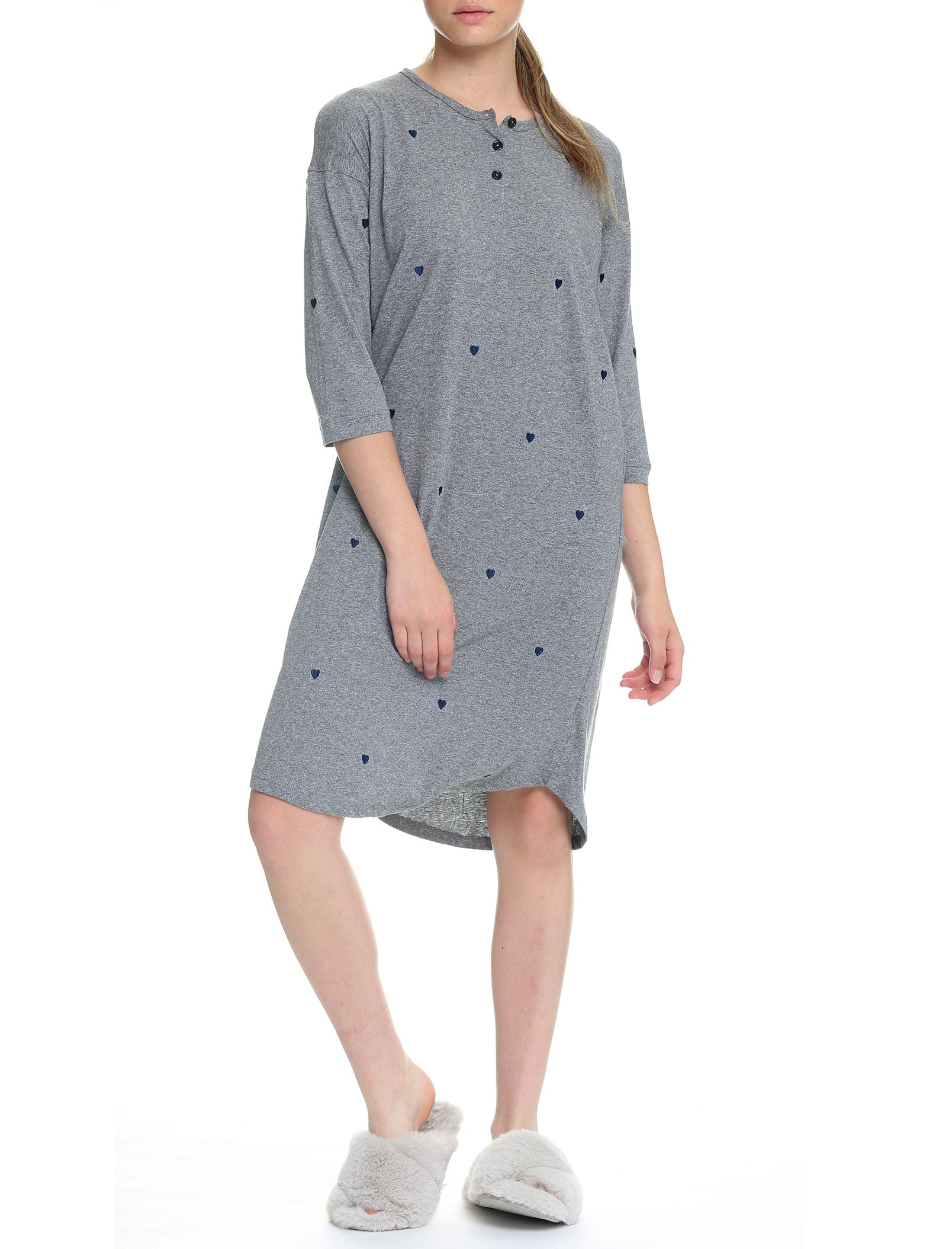 Navy Hearts Organic Cotton Knit Nightgown