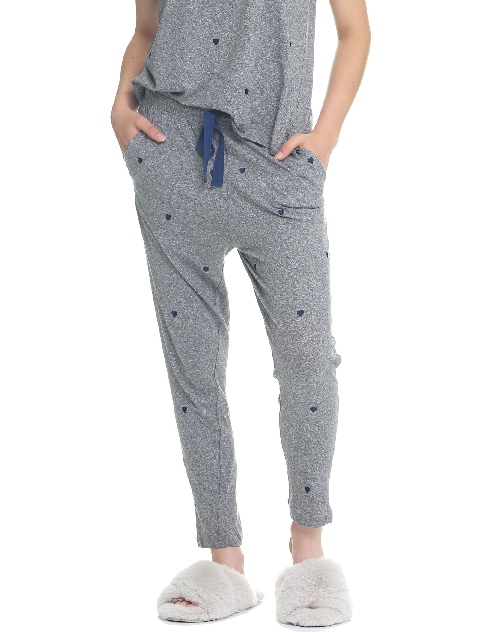 Navy Hearts Organic Cotton Knit Pant