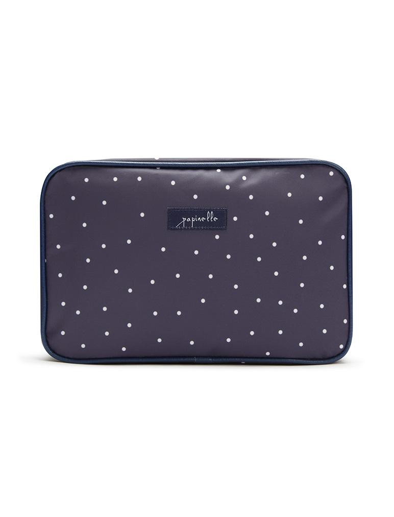 Navy Spot Large Fold Out Cosmetic Bag