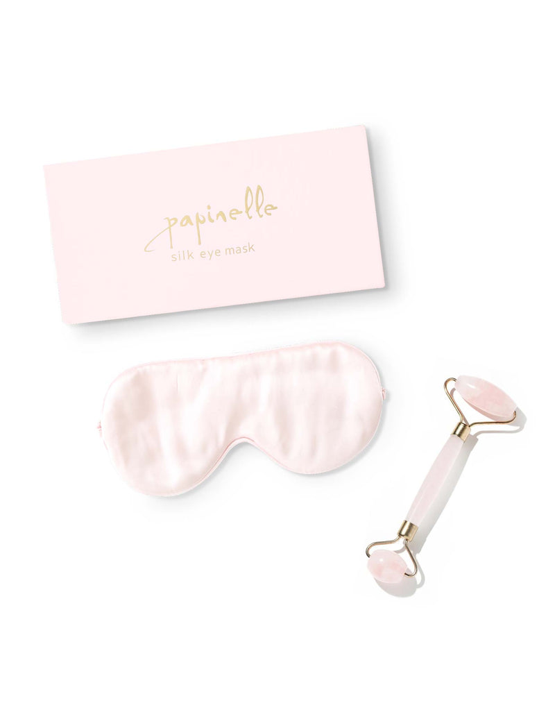 SILK EYE MASK & ROSE QUARTZ ROLLER DUO