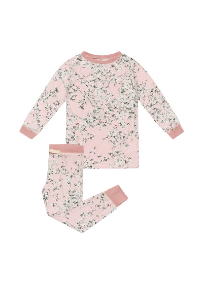 Kids Cherry Blossom Blush Modal  PJ Set