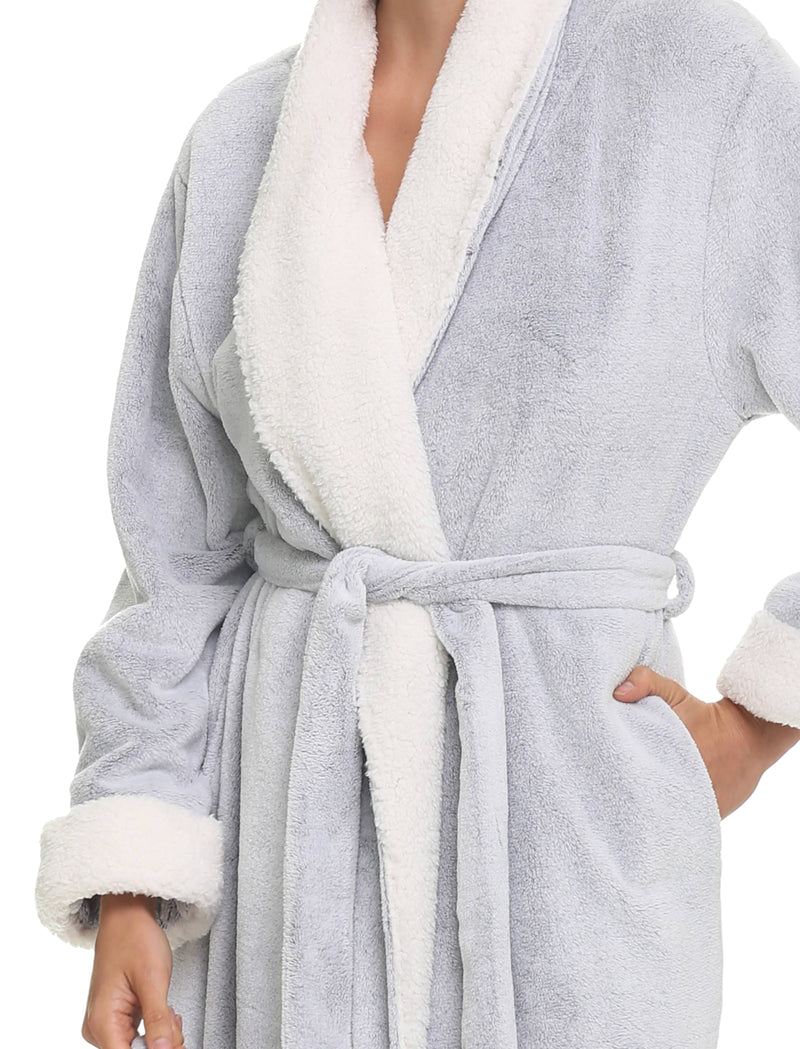 Plush Sherpa Robe & Sleep Mask, Grey