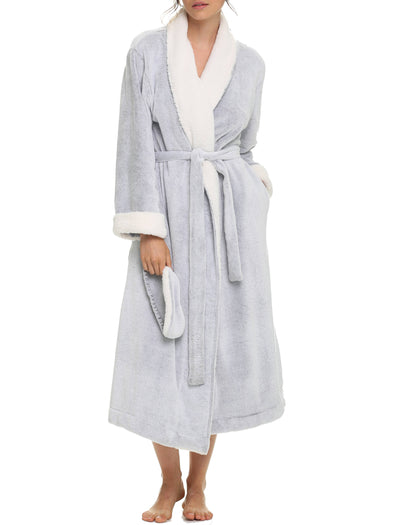 Plush Sherpa Robe & Sleep Mask in Grey