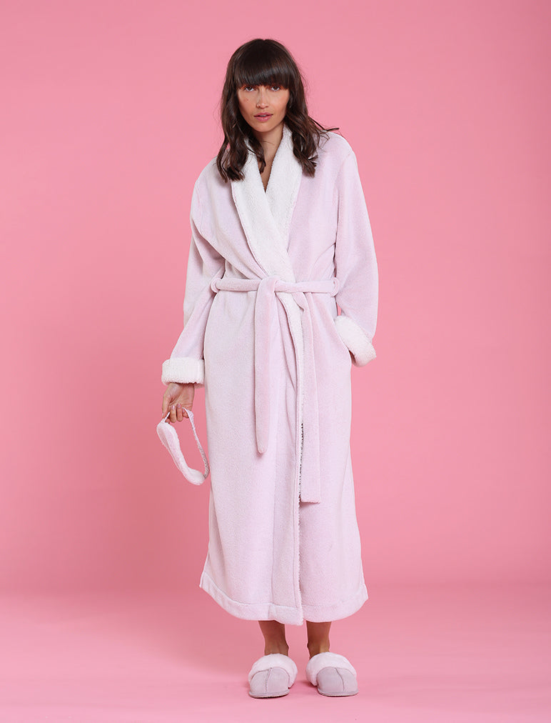 Plush Sherpa Robe & Sleep Mask, Pink