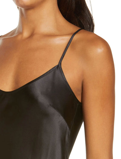 Washable  Silk Slip Nightgown in Black