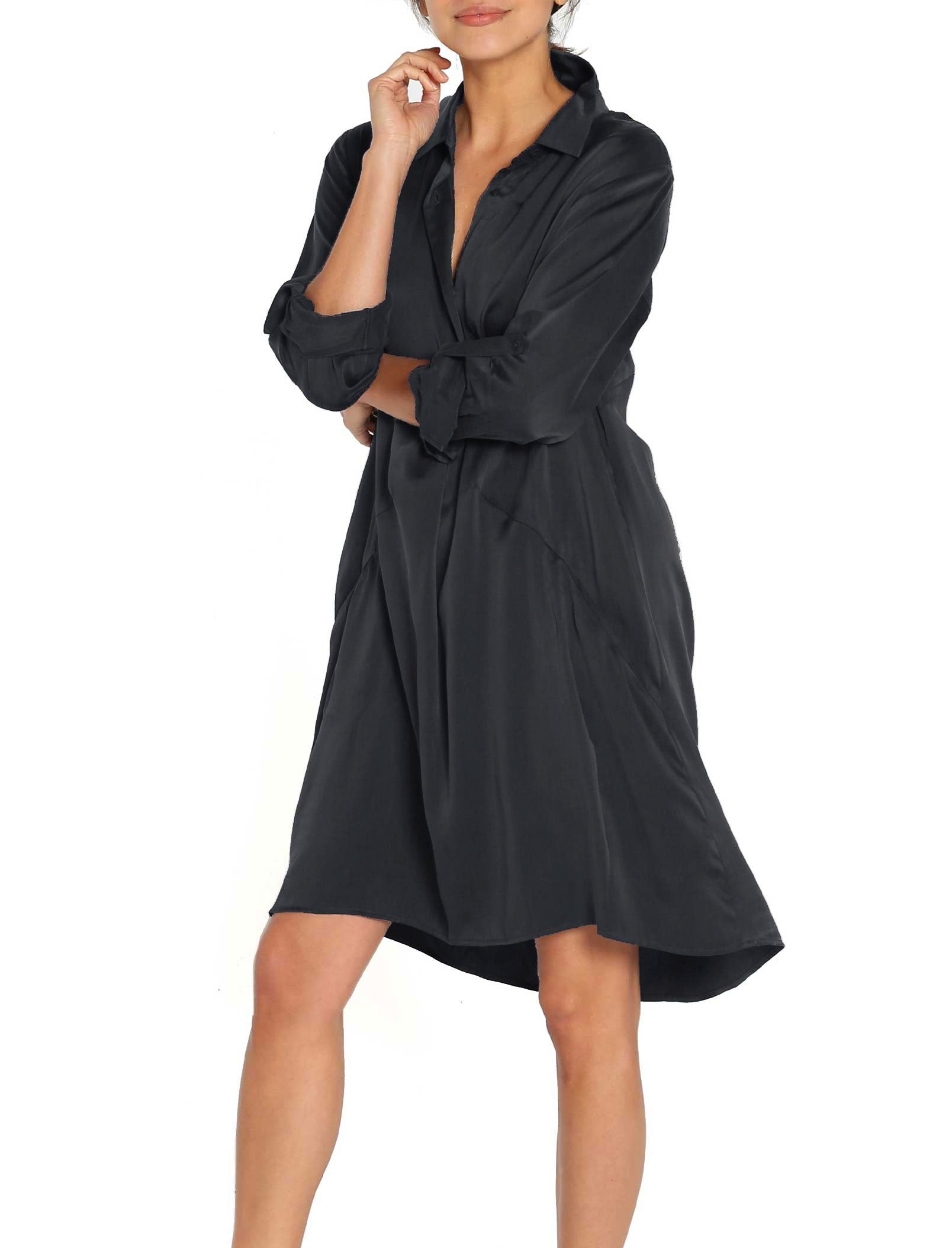 Pure Silk Nightshirt in Black