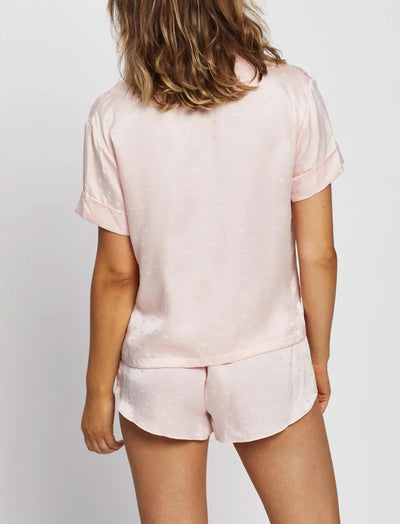 Silk Hearts Boxer Pajama Set in Blush