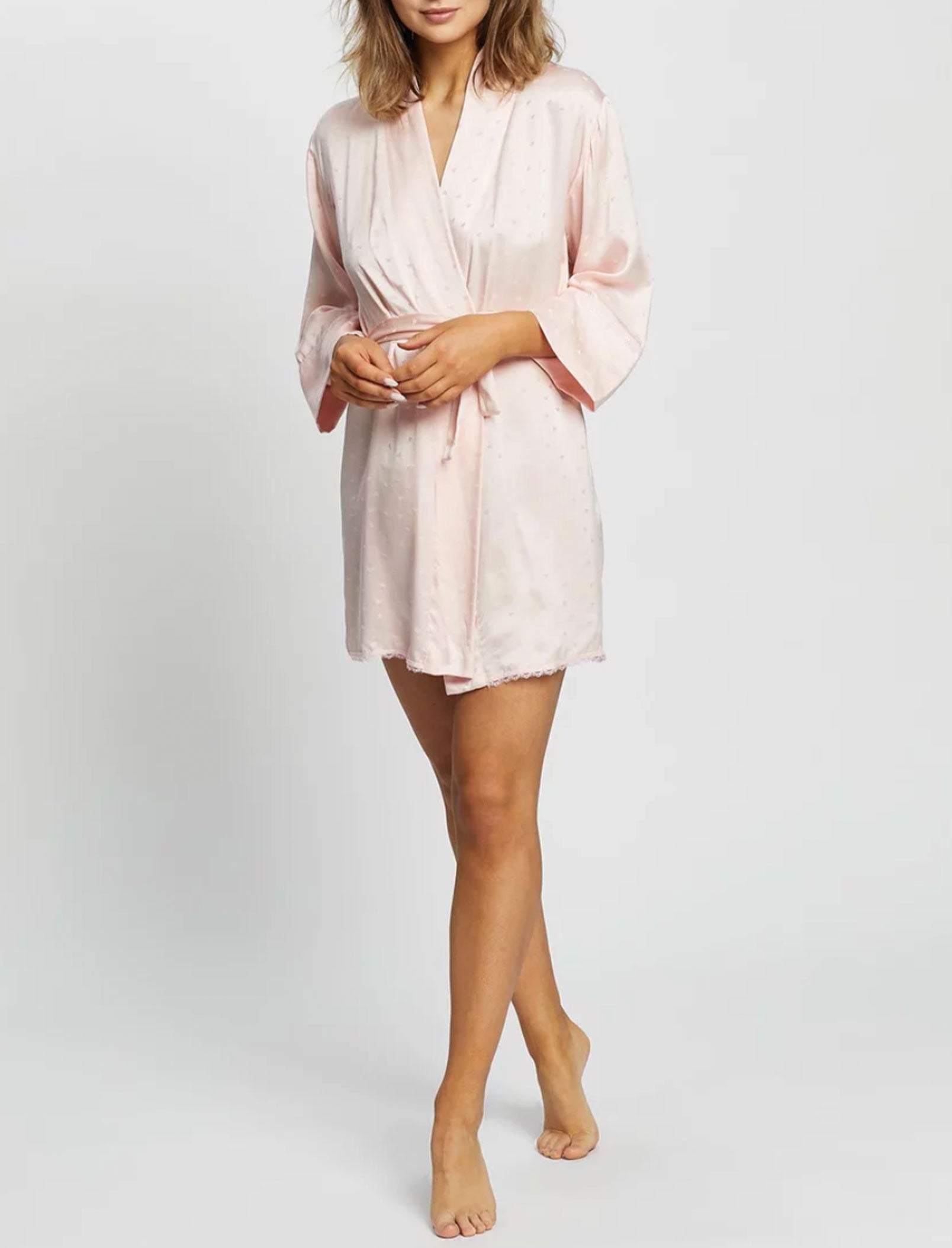 Silk Hearts Short Robe in Blush