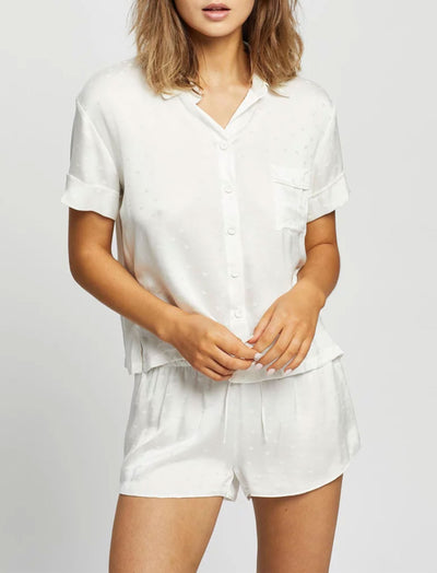 Silk Hearts Boxer Pajama Set in Ivory