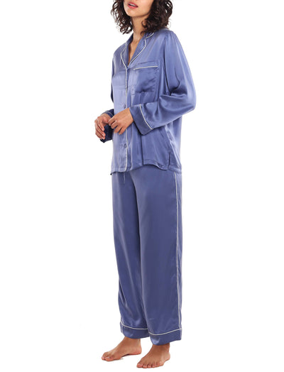 Pure Silk Piped PJ in Indigo
