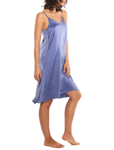 Washable Silk Slip Nightgown in Indigo