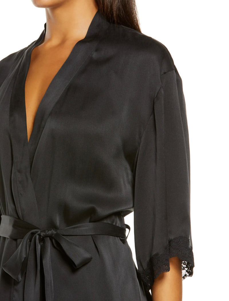Pure Silk Lace Robe in Black