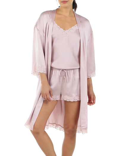 Pure Silk Lace Robe in Musk