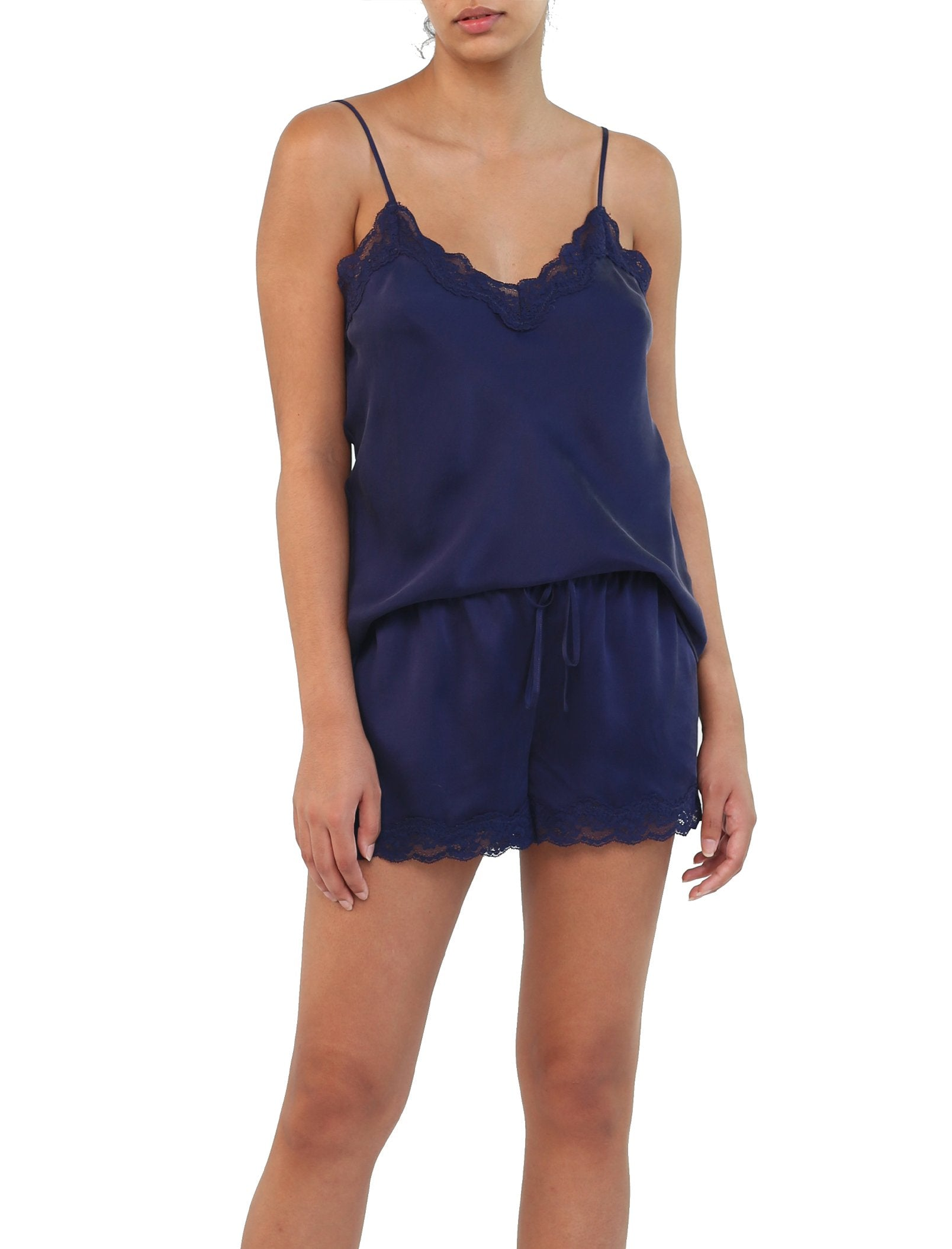 Pure Silk Lace Cami and Boxer Set in Navy