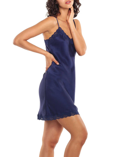 Pure Silk Slip Lace Nightgown in Navy
