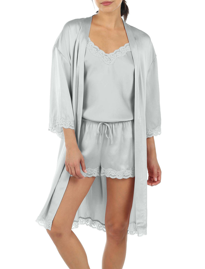 Pure Silk Lace Robe in Sage