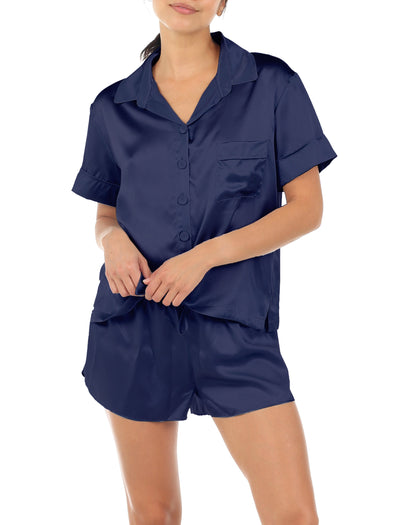 Washable Silk Boxer Pajamas, Navy