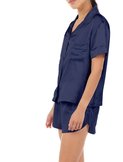 Washable Silk Boxer PJ, Navy Side