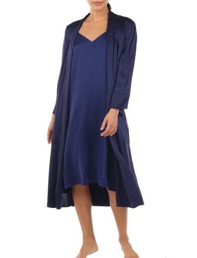 Washable Silk Slip Nightgown in Navy