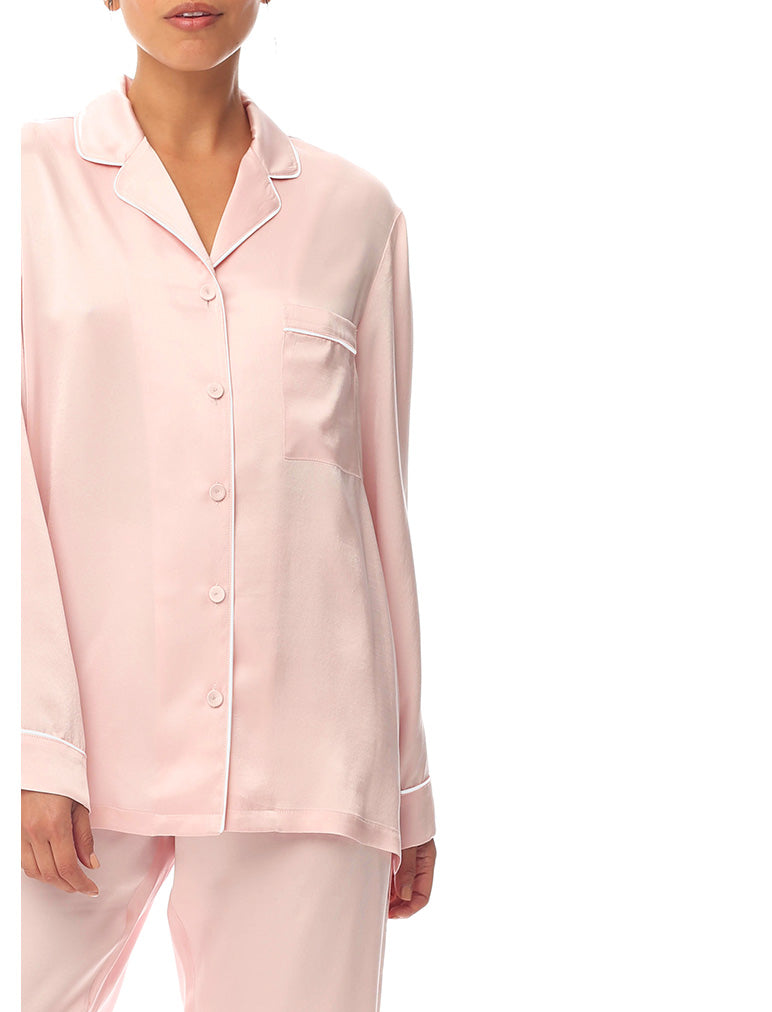 Pure Silk Piped PJ Set in Peony Pink