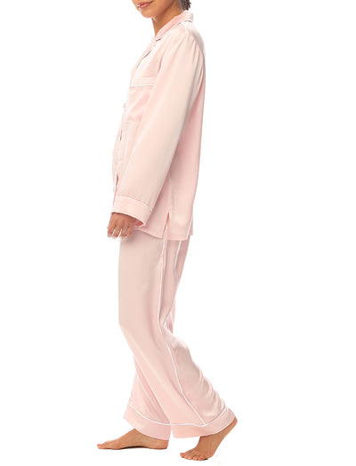 Washable Silk Piped PJ Set in Peony Pink