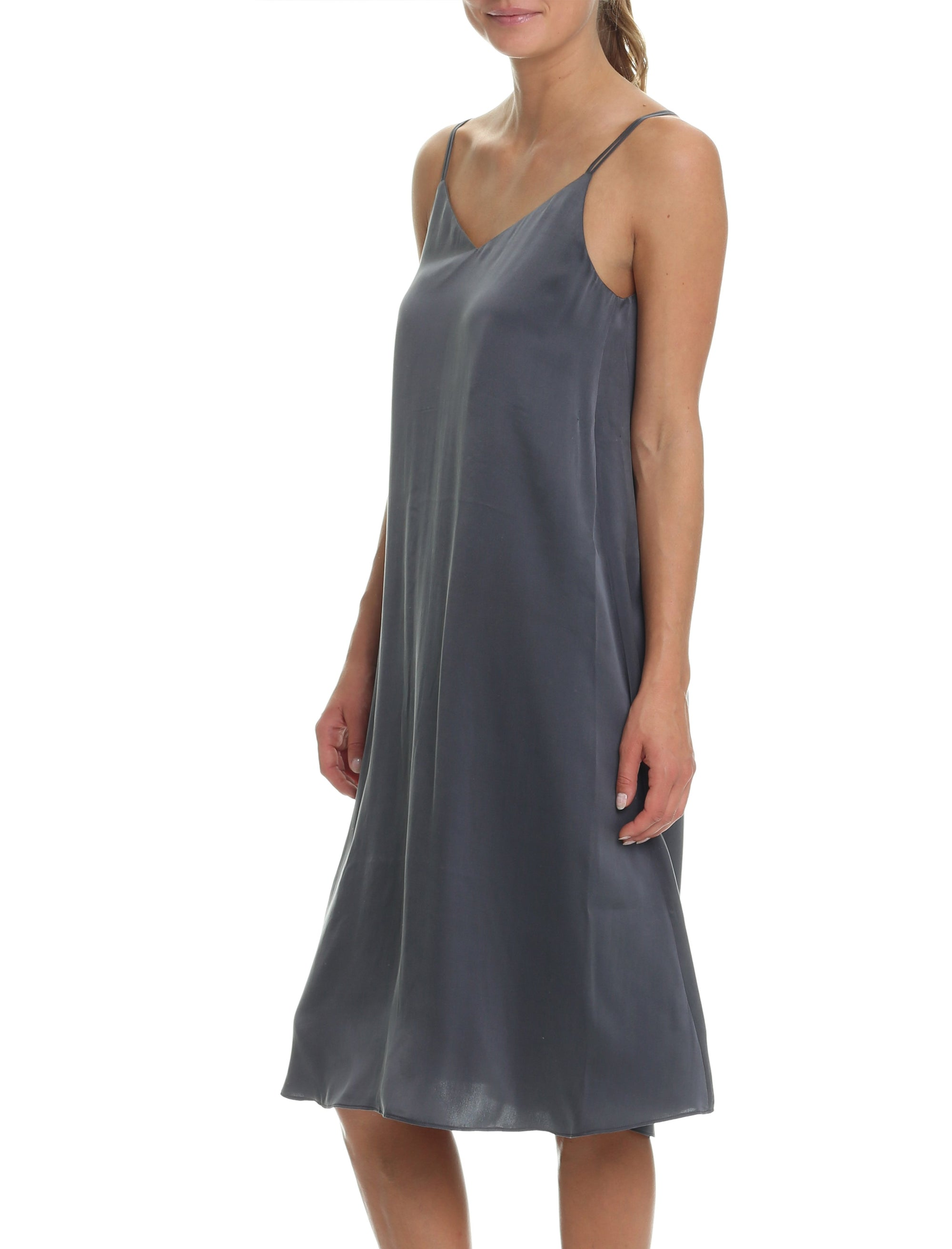 Washable Silk Slip Nightgown in Slate