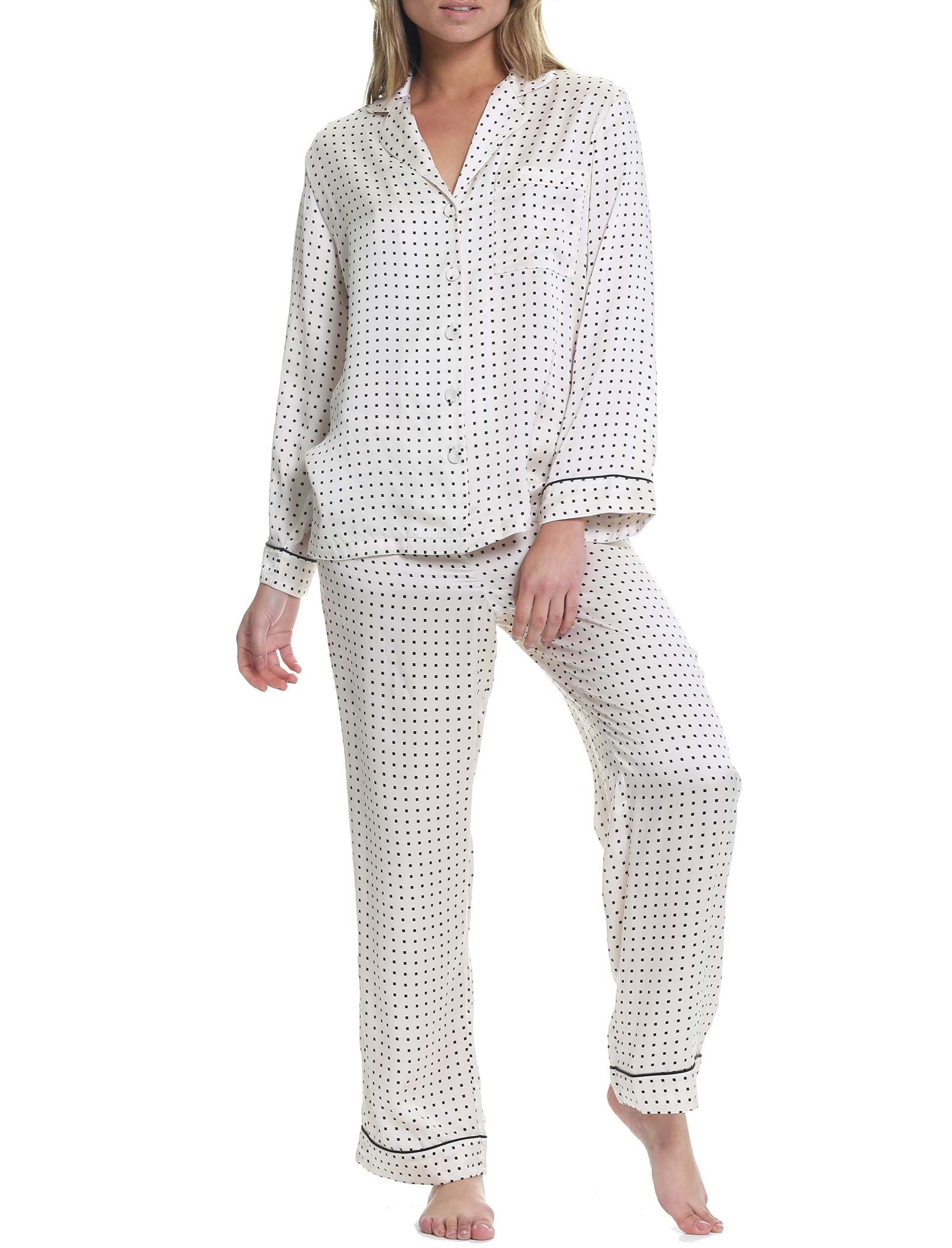 Silk Squares Piped Pajama Set