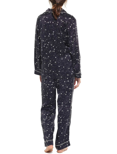 Silk Stars Luxury Pyjamas Black Back