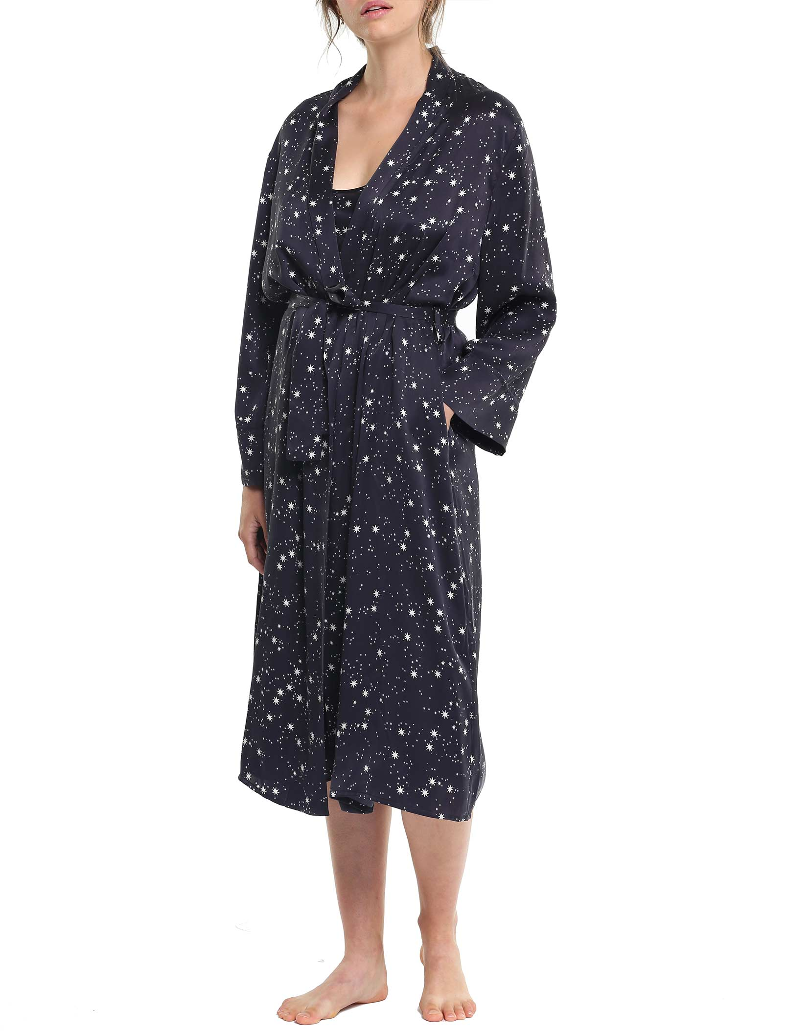 Silk Star Robe Black