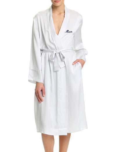 Washable Silk Long Robe in Dove Grey