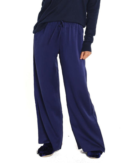 Pure Silk Wide Leg Pant in Navy