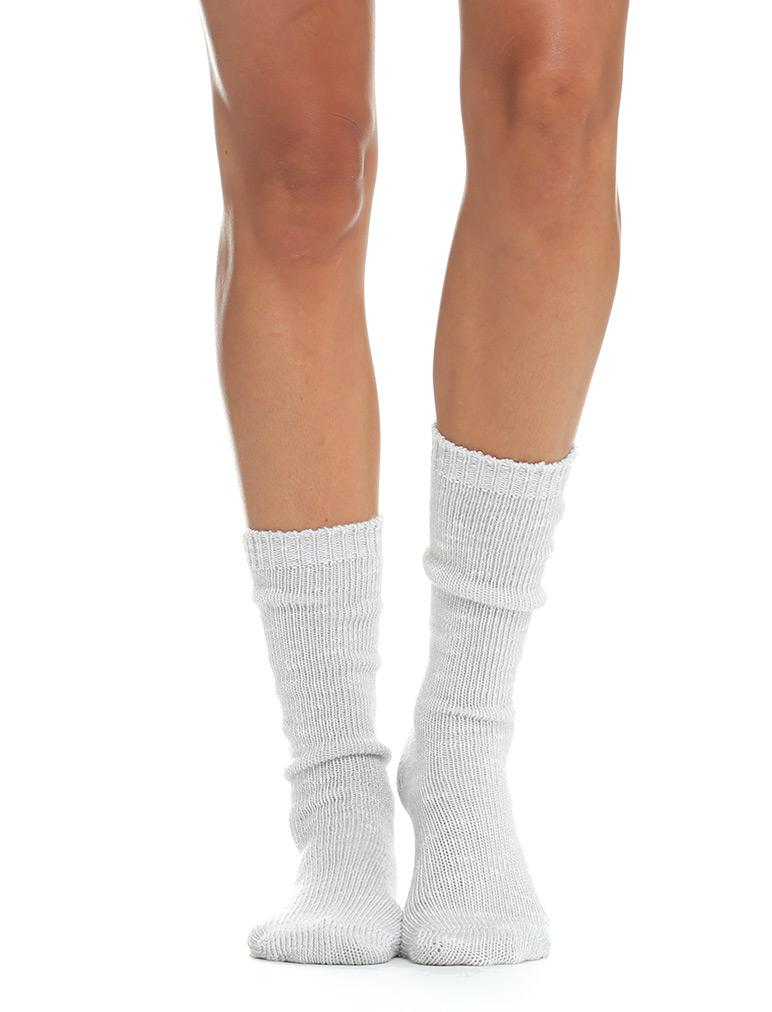 Soft Knit Bed Socks in Silver