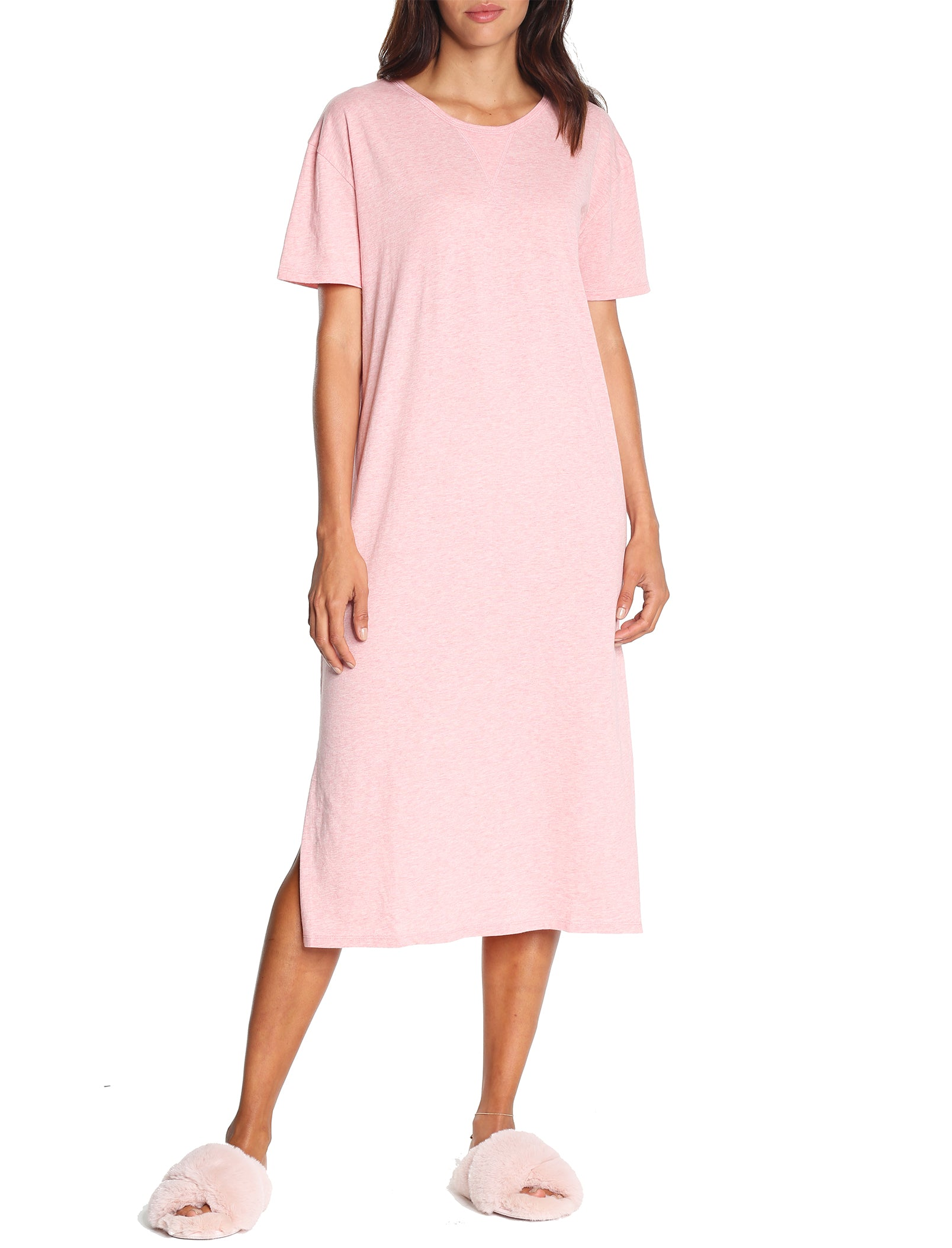 Organic Cotton Knit Nightgown in Pink