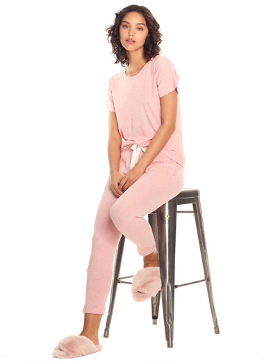 Organic Cotton Knit Pant in Peony Pink