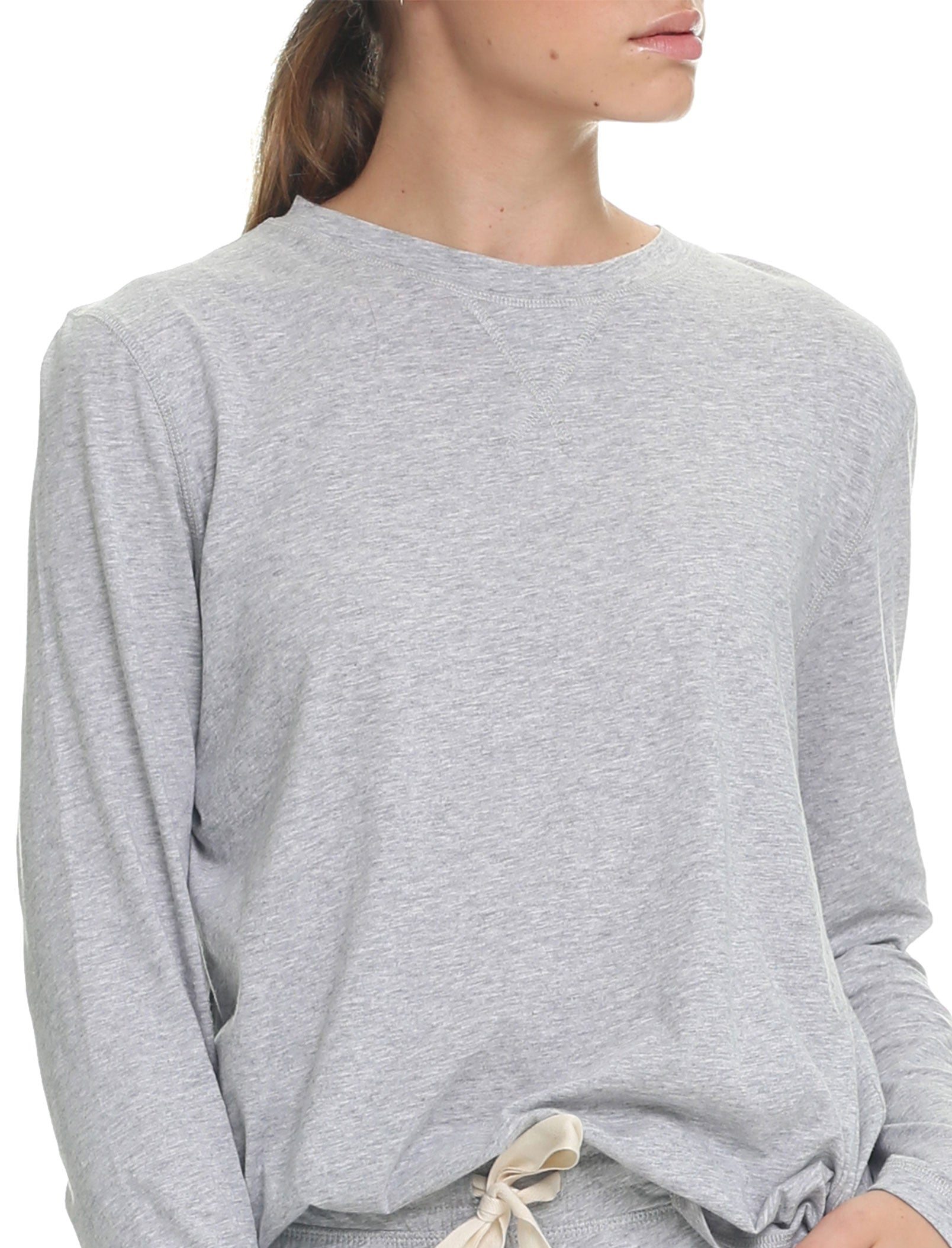 Organic Cotton Knit Long Sleeve Tee in Grey