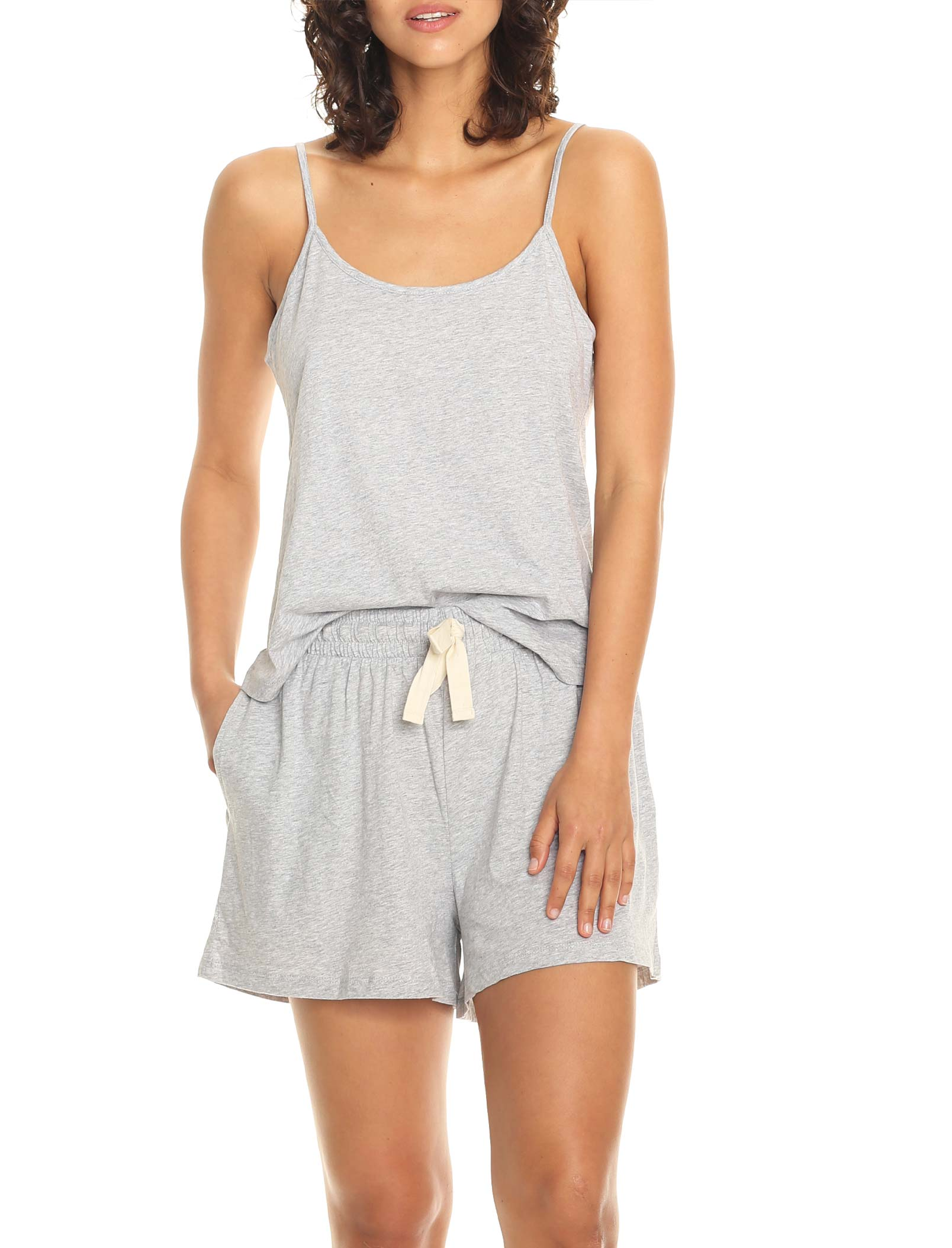 Organic Knit Cami in Grey Marl