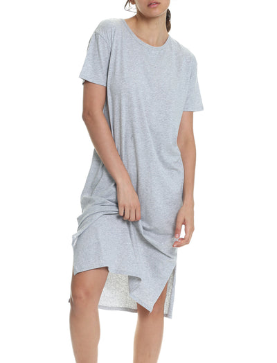 Organic Cotton Knit Nightgown in Grey