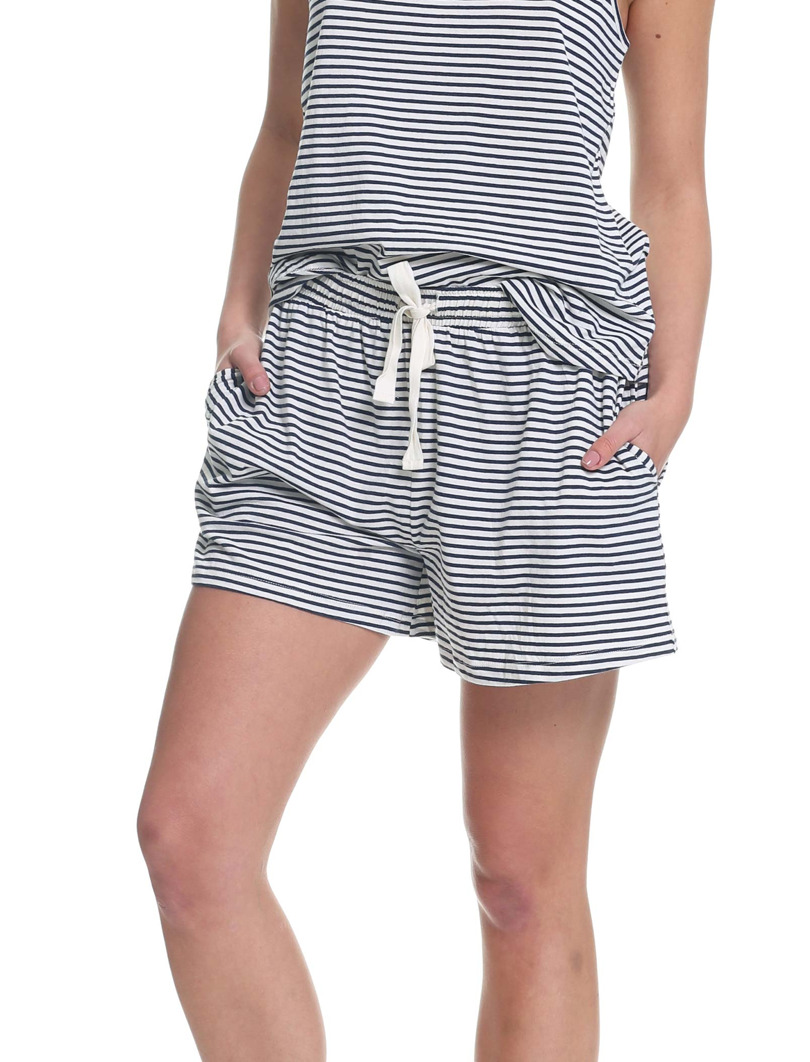 Organic Knit Boxer in Navy Stripe