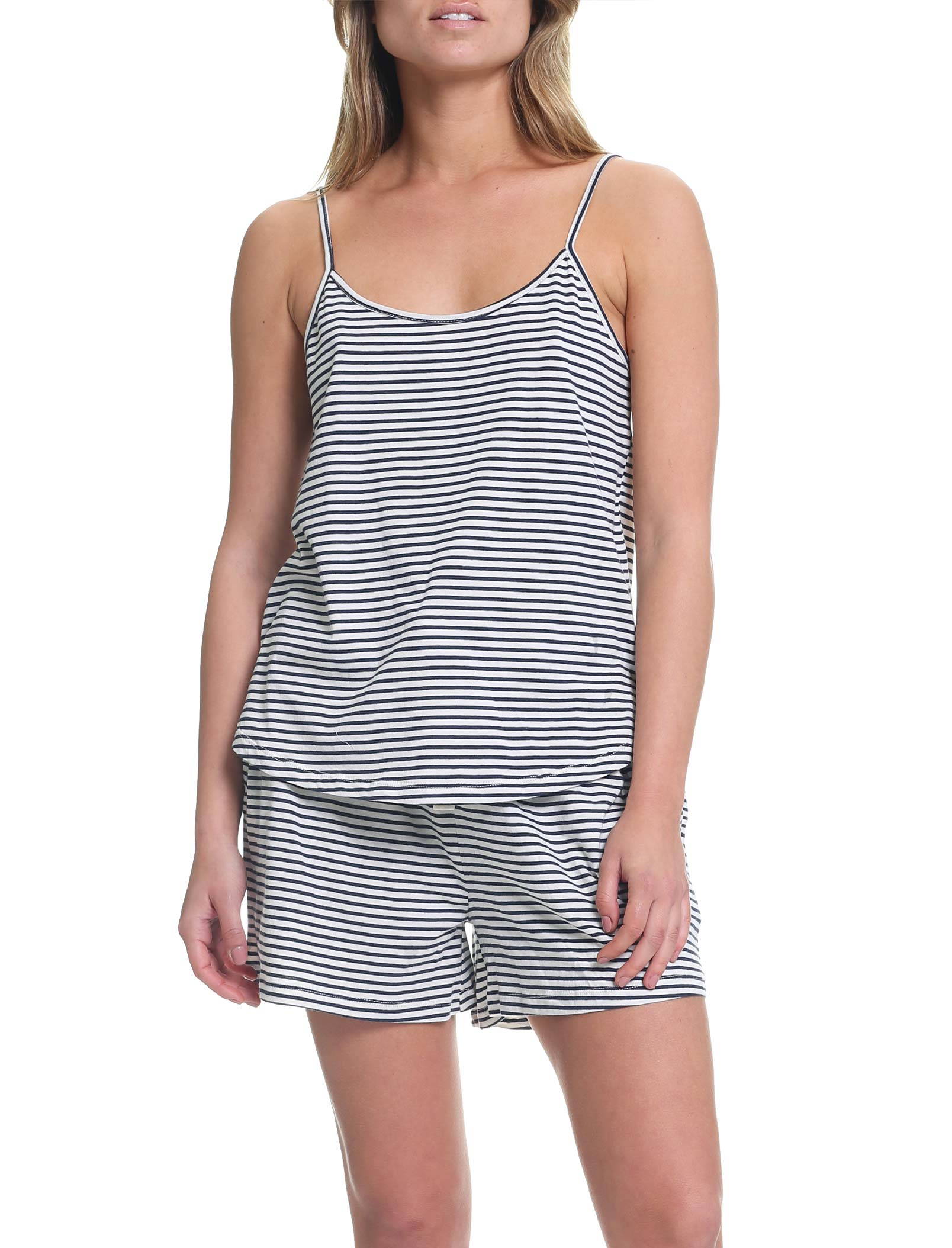 Organic Knit Cami in Navy Stripe