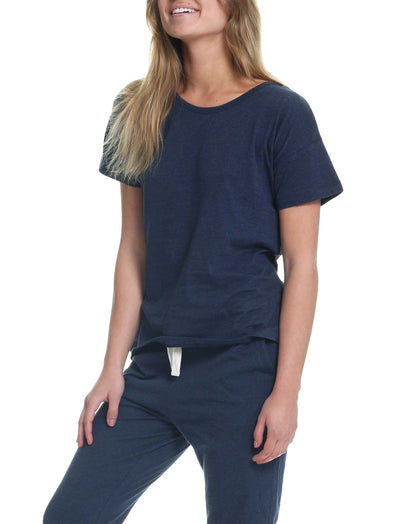 Organic Knit Tee in Navy