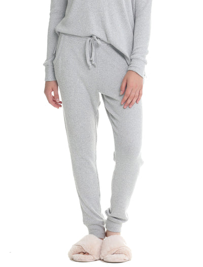 Soft Touch Rib Pant in Grey Marl
