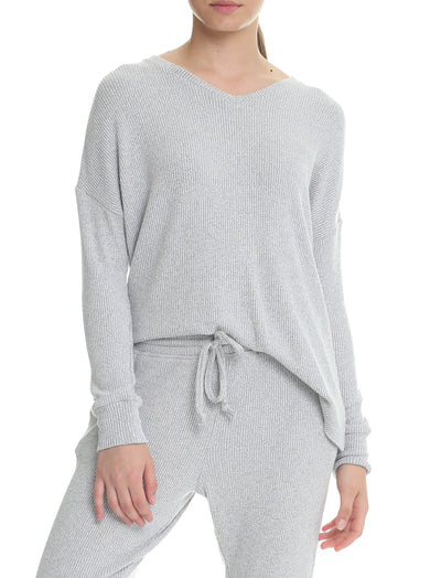 Soft Touch Rib V-Neck Long Sleeve Top in Grey Marl