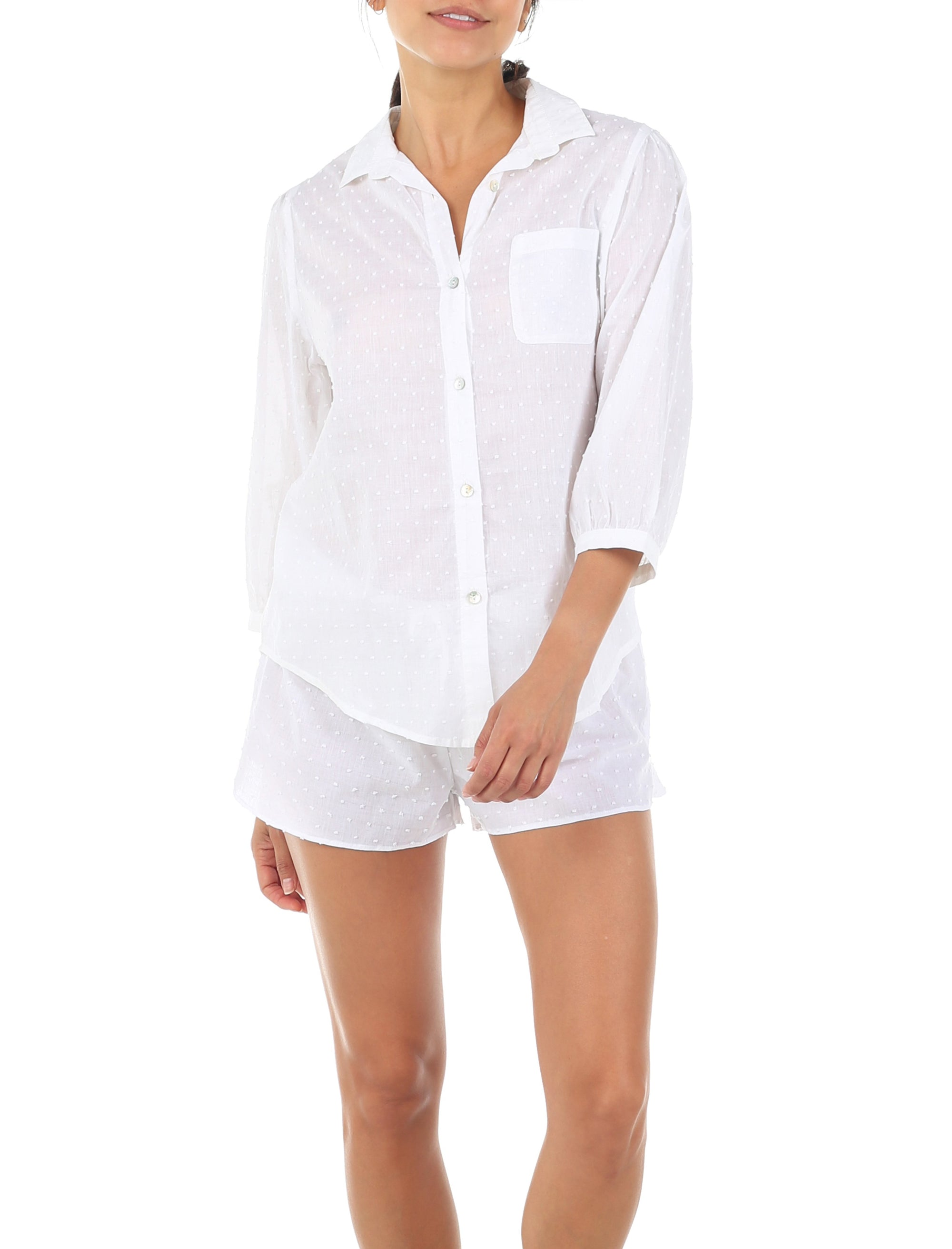 Swiss Dot White Blouse Boxer PJ Set