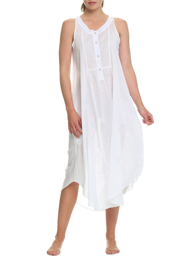 Swiss Dot White Panel Maxi Nightgown