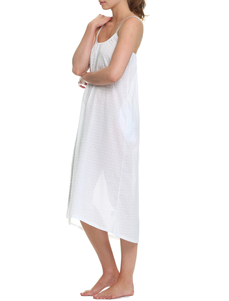 Swiss Dot Maxi Strappy Nightgown in White