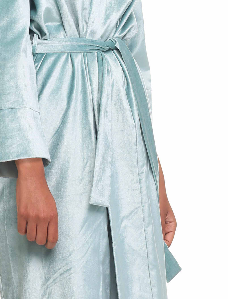 Cotton Velvet Robe, Blue Green